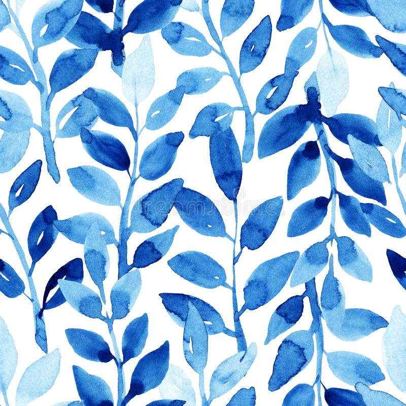 Seamless watercolor blue pattern with leaves. Watercolor seamless pattern with leaves. Blue pattern on the white background. Handmade texture. Template for royalty free illustration