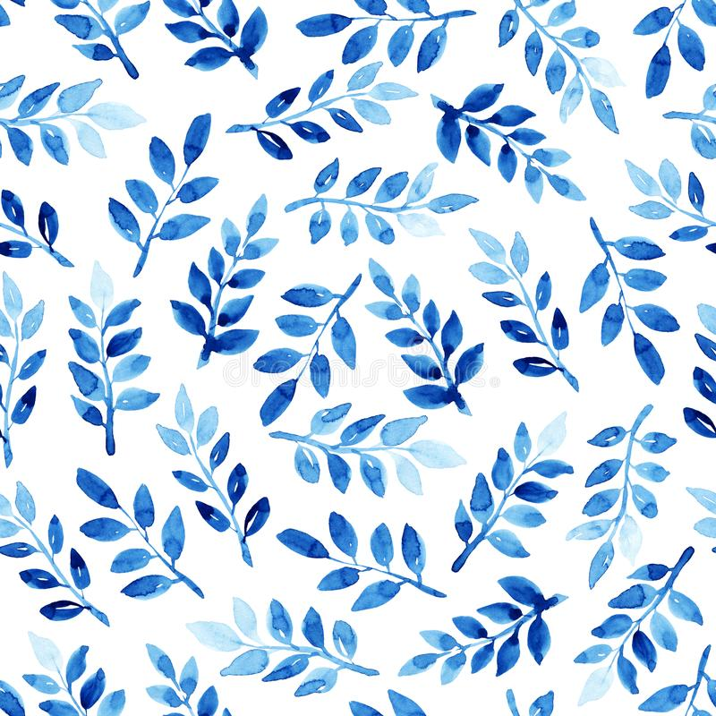 Seamless watercolor pattern with leaves. Watercolor seamless pattern with leaves. Blue pattern on the white background. Handmade texture. Template for textile royalty free illustration