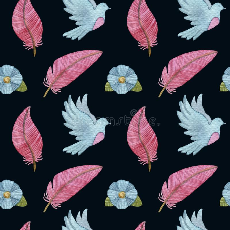 Watercolor seamless pattern with pigeons, feathers, flowers and birds stock illustration