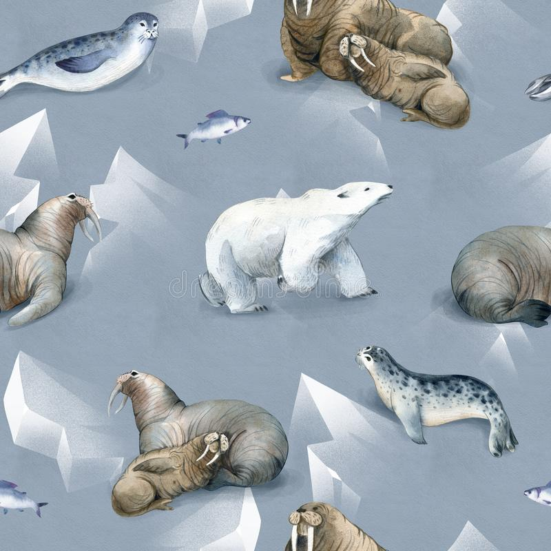 Seamless watercolor pattern about north fauna. Ice and sea animal. White bear, warlus, fish and seal on snow. Background vector illustration
