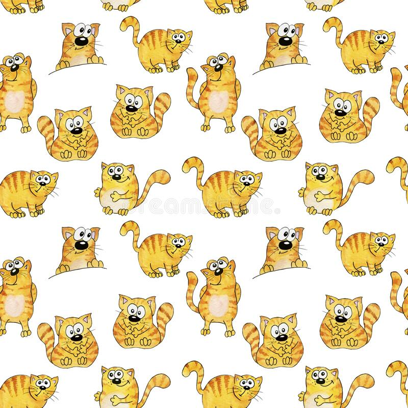Seamless watercolor pattern. Orange, striped funny cats in cartoon style. Children`s illustration. With a black stroke stock illustration