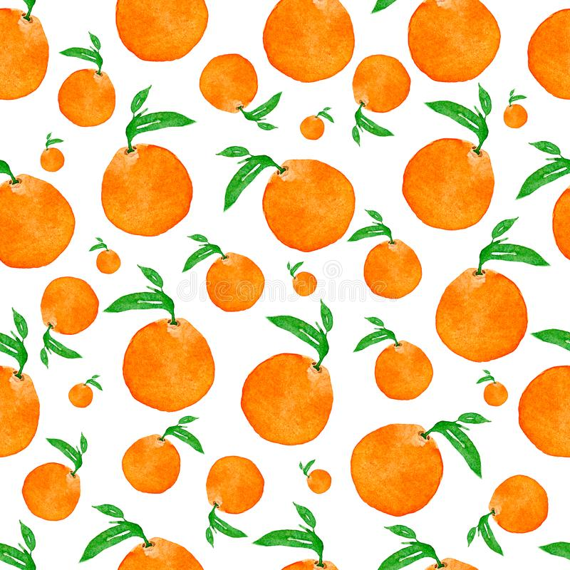 Seamless watercolor pattern with oranges and leaves , hand watercolor illustration. Perfect tasty pattern for your design. Hand drawn art illustration vector illustration