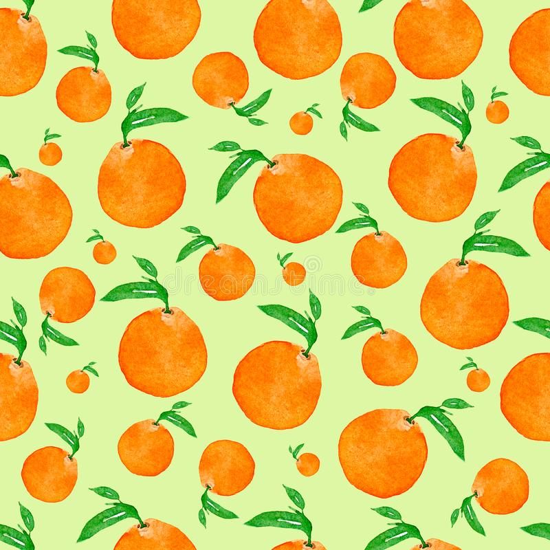 Seamless Seamless watercolor pattern with oranges and leaves , hand watercolor illustration. Perfect tasty pattern for your design. Seamless watercolor pattern royalty free illustration