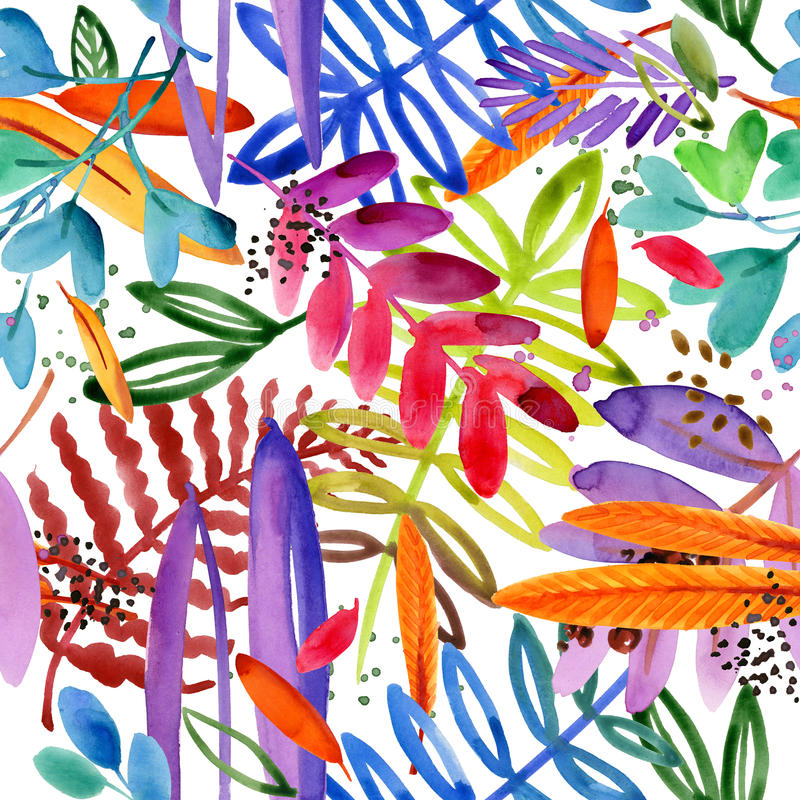 Seamless watercolor pattern of paradise garden plant. stock illustration