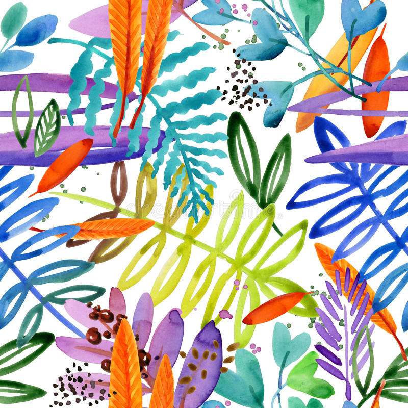 Seamless watercolor pattern of paradise garden plant. royalty free illustration