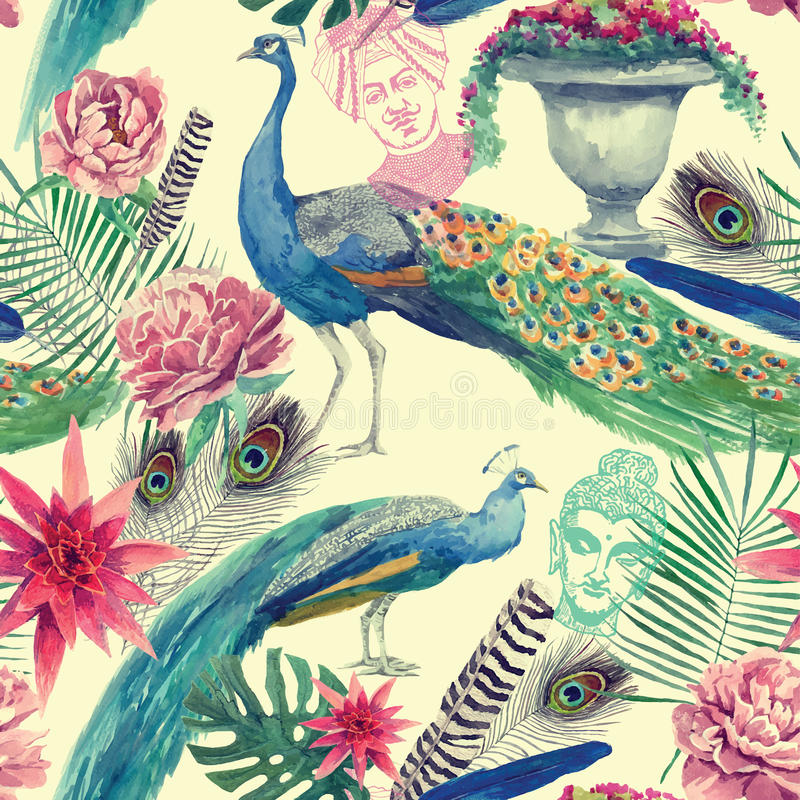 Seamless watercolor pattern with peacocks. Hand drawn vector. royalty free illustration