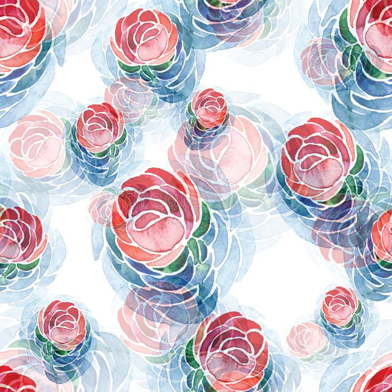 Seamless watercolor pattern of pink flowers and blue leaves on a white background. royalty free illustration