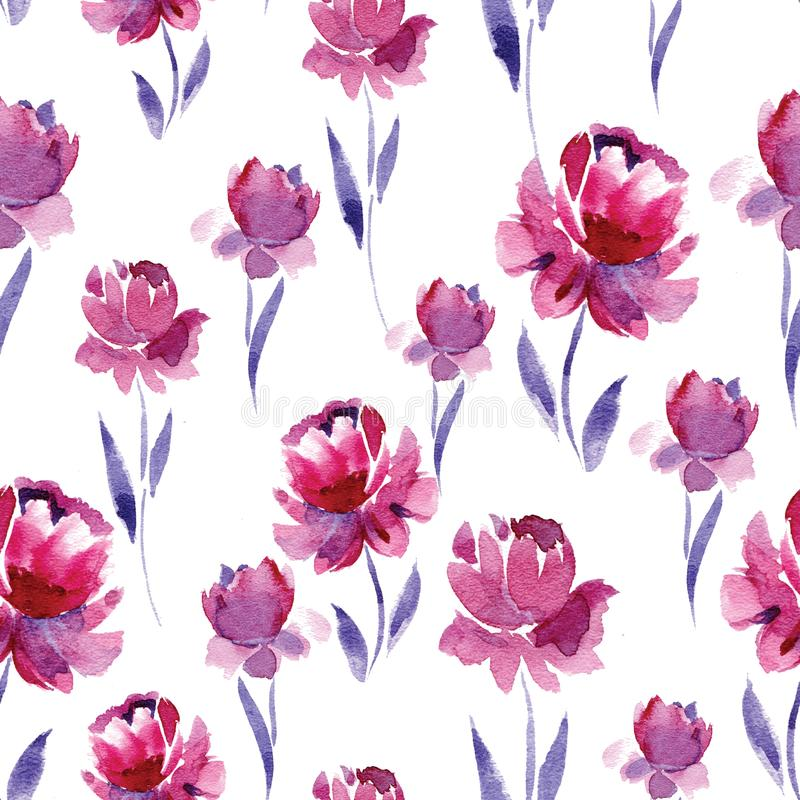 Seamless watercolor pattern of pink flowers and purple leaves on a download seamless watercolor pattern of pink flowers and purple leaves on a white background stock mightylinksfo