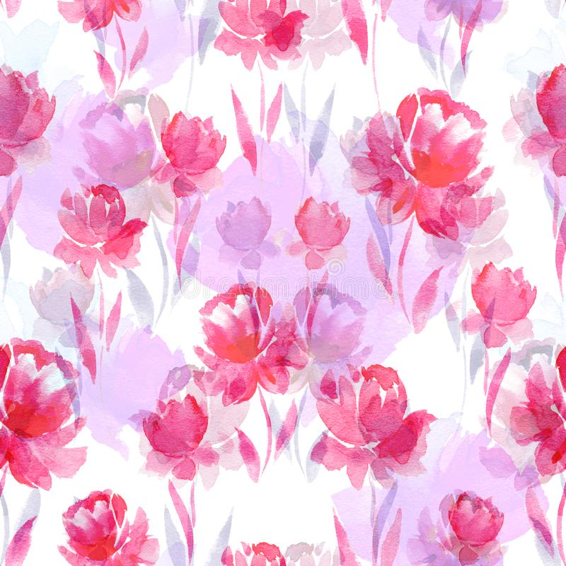 Seamless watercolor pattern of pink flowers on a white background. vector illustration