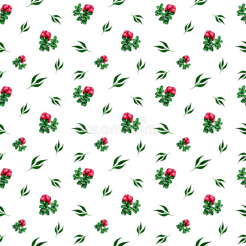 Watercolor satercolor pattern with pink red forest berries cowberry and green leaves. Print for textile, fabric, wrapping paper stock illustration