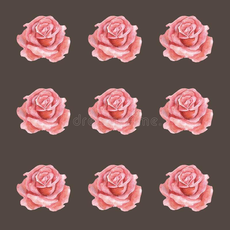 Seamless watercolor pattern of roses Amazing design elements. stock illustration