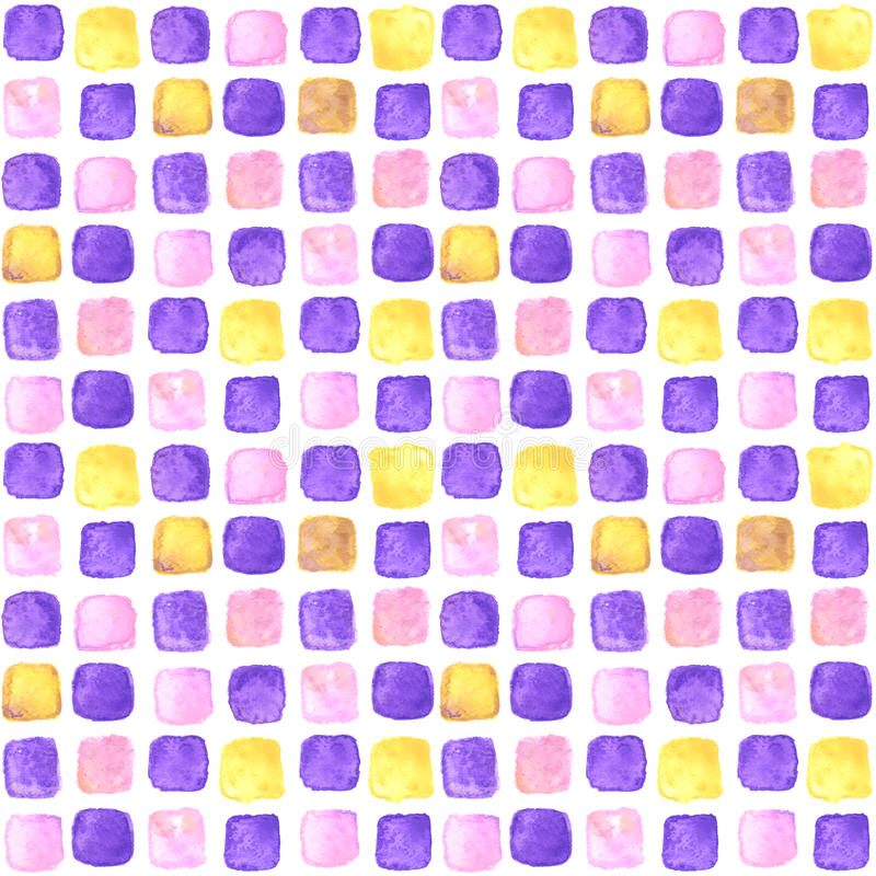 Seamless watercolor pattern with squares royalty free illustration