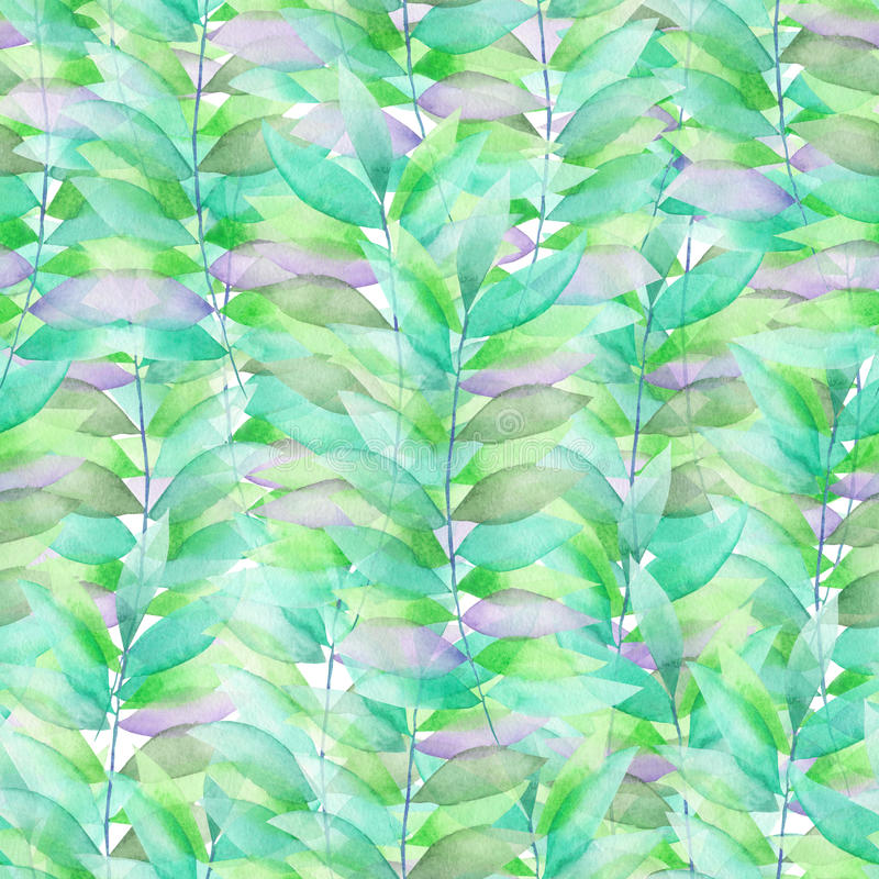 A seamless watercolor pattern with the transparent green and violet leaves on the branches royalty free illustration