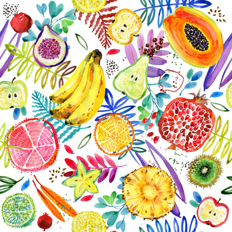 Seamless watercolor pattern of tropical garden fruit. jungle nature plant background. vector illustration