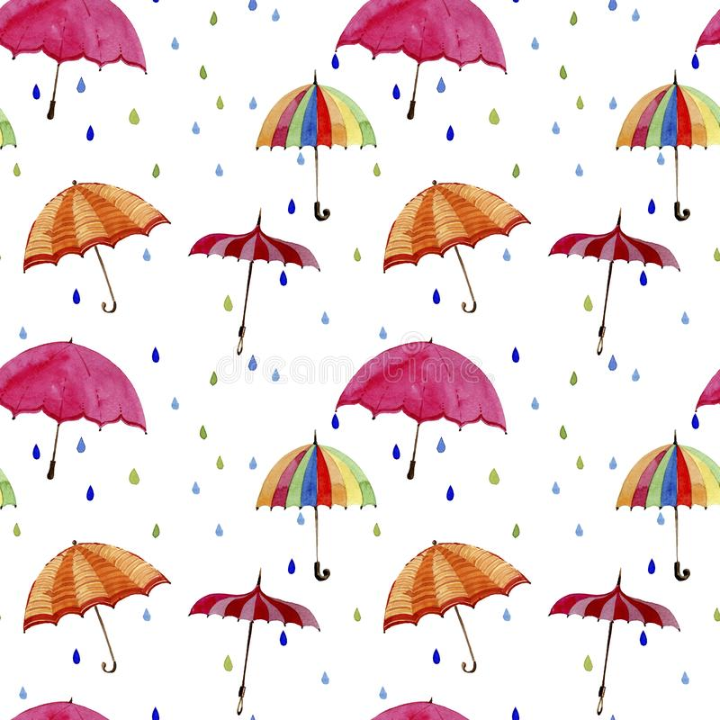 Seamless watercolor pattern. Umbrellas and rain drops on white background. Multicolors umbrellas and rain drops on white background vector illustration