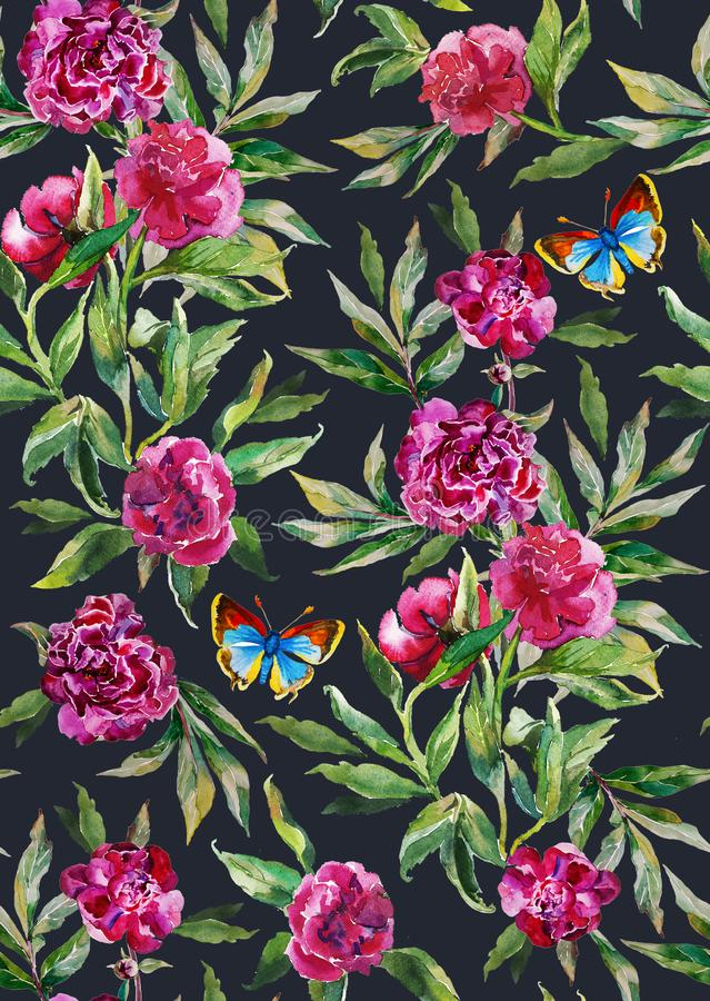 Seamless watercolor peony pattern on dark grey background with leaves, flowers and blue butterfly stock illustration
