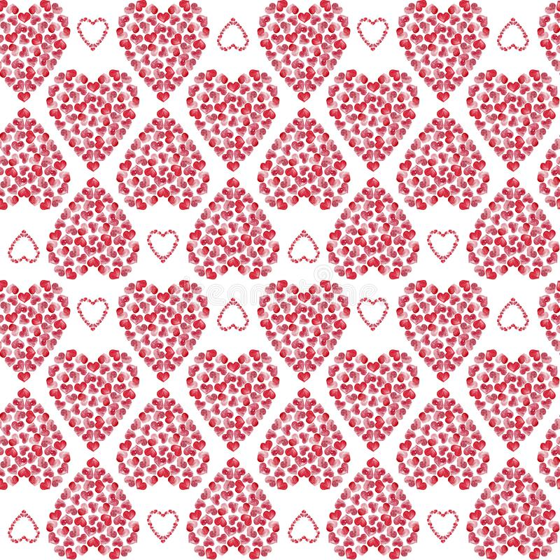 Seamless watercolor pink hearts pattern. Love theme. Valentine`s day and wedding design. stock illustration