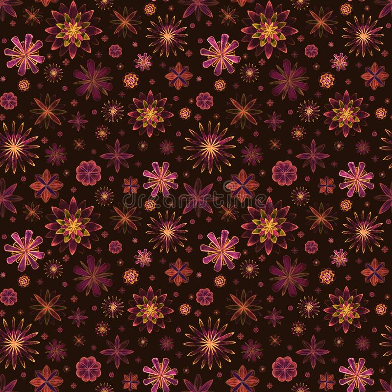 Seamless watercolor romantic mandala abstract flowers colorful floral pattern on brown background. Bright watercolour illustration royalty free illustration