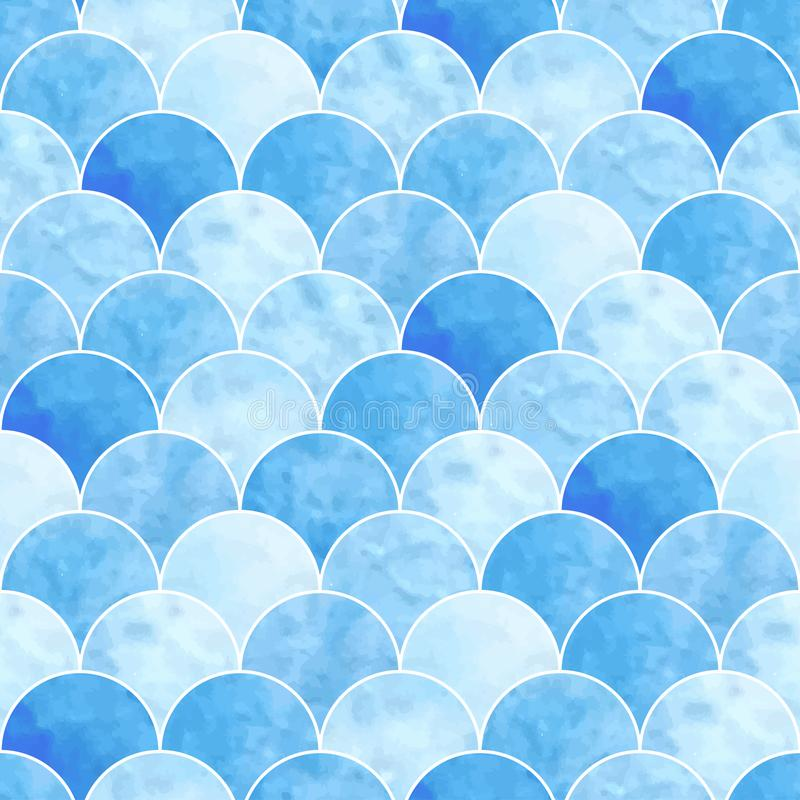 Seamless watercolor scales pattern. Seamless watercolor scales blue pattern. fish texture royalty free illustration