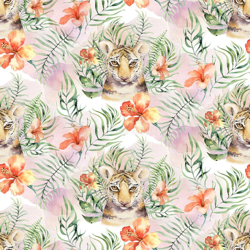 Seamless watercolor animal tiger pattern with tigers with tropical leaves, aloha jungle hawaiian. Hand painted palm leaf royalty free stock photo