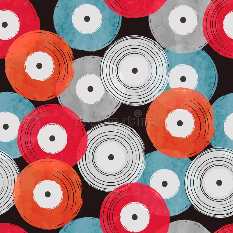 Seamless watercolor vinyl records pattern, Abstract retro musical background vector illustration