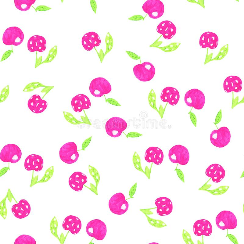 Seamless watercolor watercolor cherry pattern royalty free illustration