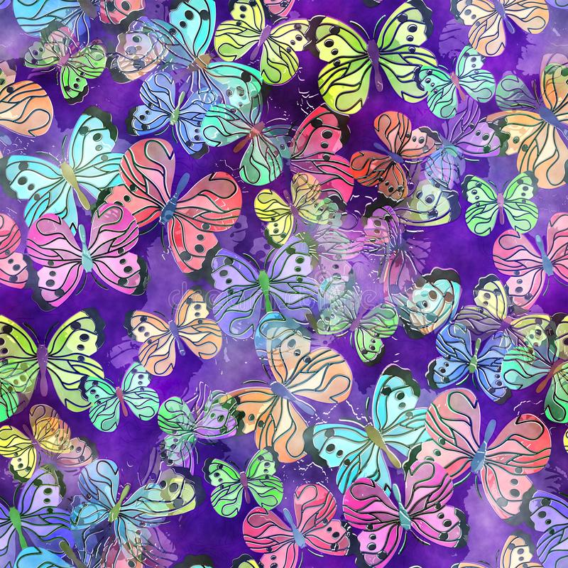 Seamless Watercolor Butterfly Textile Paper stock illustration