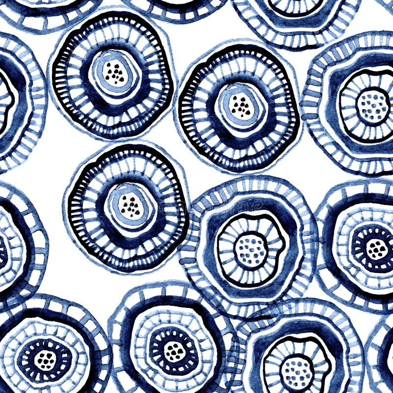 Seamless watercolour pattern with aborigine flowers. For textile, ceramic, wrapping, craft royalty free illustration