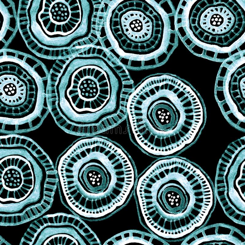 Seamless watercolour pattern with indigo aborigine flowers on black. For textile, ceramic, wrapping, craft vector illustration