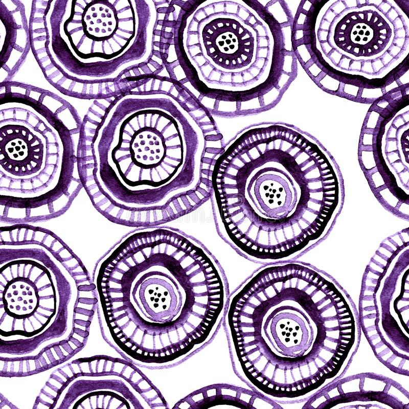 Seamless watercolour pattern with lilac aborigine flowers. For textile, ceramic, wrapping, craft stock illustration