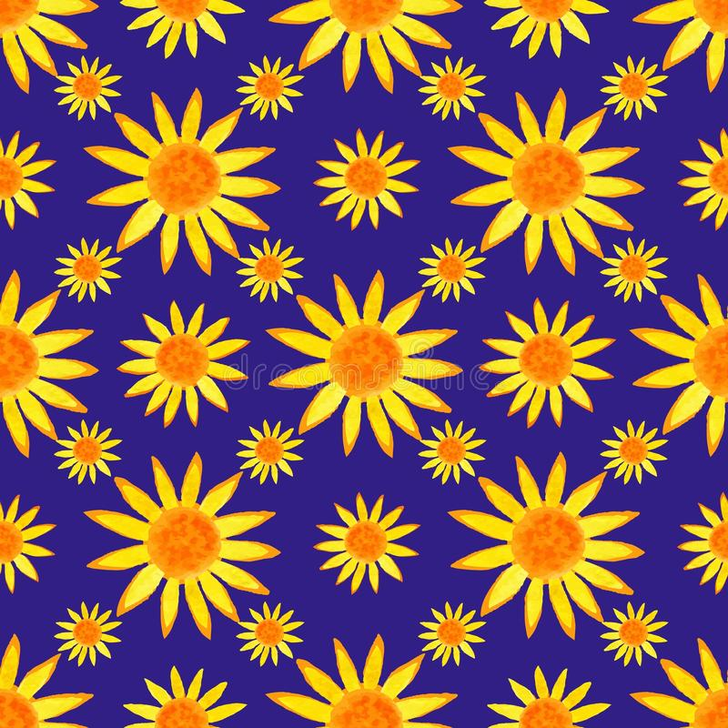 Seamless watercolour sunflowers pattern on blue background. Vector illustration. stock illustration