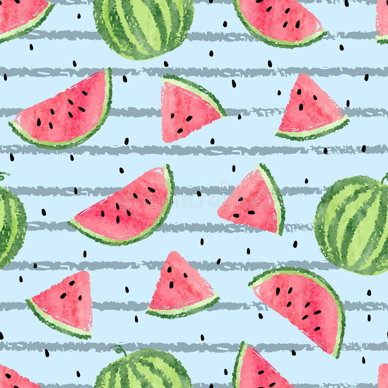 Seamless watermelon pattern. Vector striped summer background royalty free illustration