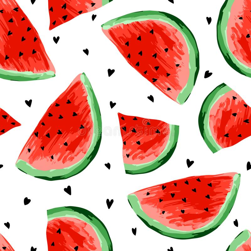 Seamless watermelons pattern. Slices of watermelon, berry background. Painted fruit, graphic art, cartoon. For the design of the fabric, print, wallpaper royalty free illustration