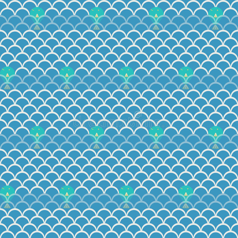 Seamless wave with fish pattern background. Vector illustration royalty free illustration