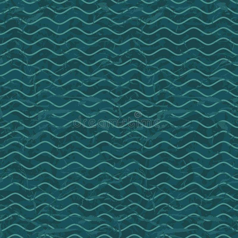 Seamless wave hand drawn pattern. Abstract vintage royalty free illustration