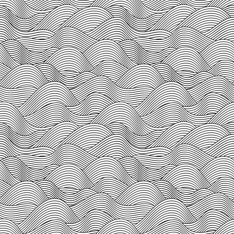Seamless wave hand drawn pattern. Abstract vintage stock illustration