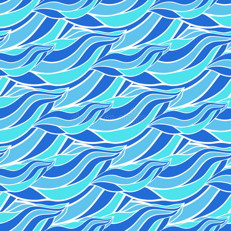 Seamless wave hand-drawn pattern, blue waves vector background. Can be used for wallpaper, pattern fills, web page stock illustration