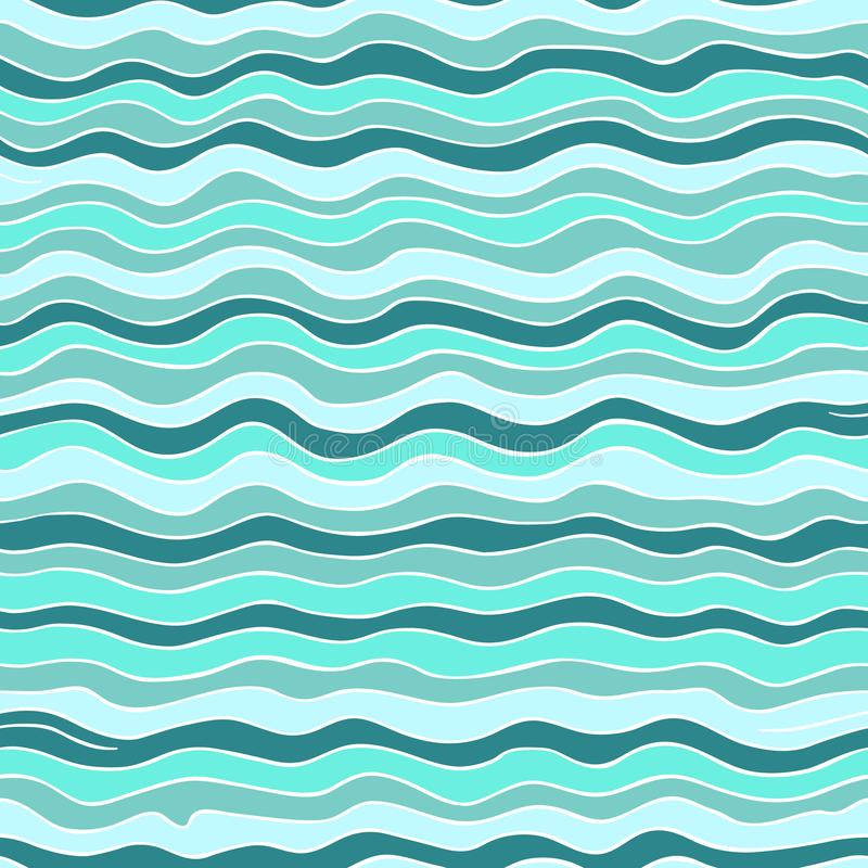 Seamless wave pattern. Sea background. stock illustration
