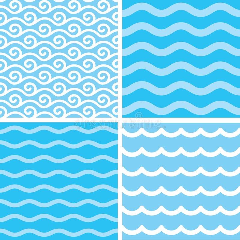 Seamless wave patterns vector illustration
