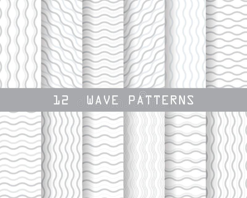 Seamless wave patterns stock illustration