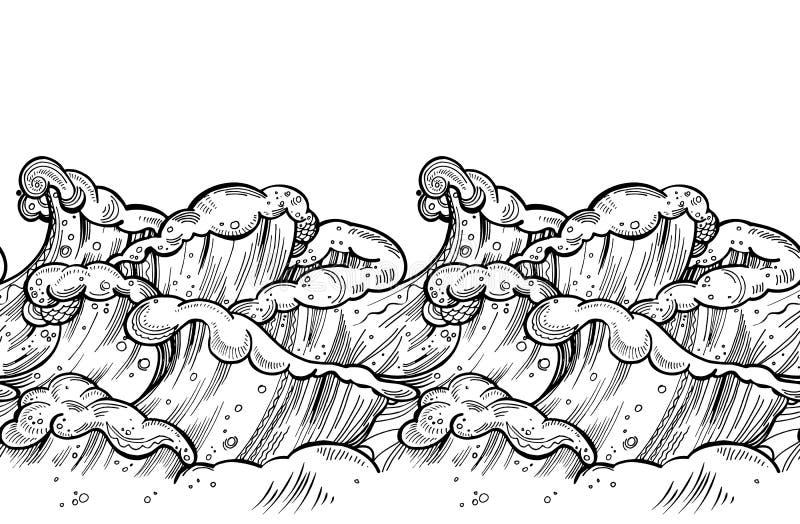 Seamless waves doodle border. Hand drawn zentangle vector illustration. royalty free illustration