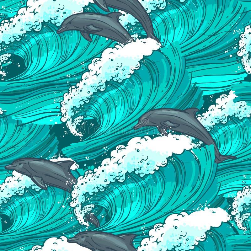 seamless waves för modellhav stock illustrationer