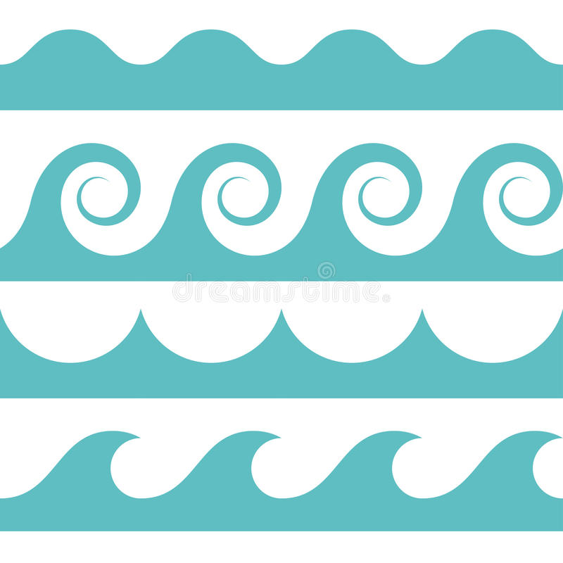Seamless waves pattern. Blue and white colored seamless Waves pattern royalty free illustration