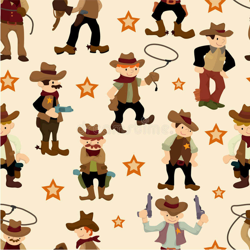 Seamless west cowboy pattern stock illustration