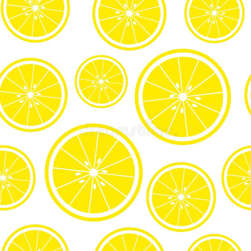 Seamless white background with lemon slices. Vector illustration design for greeting card or template stock illustration