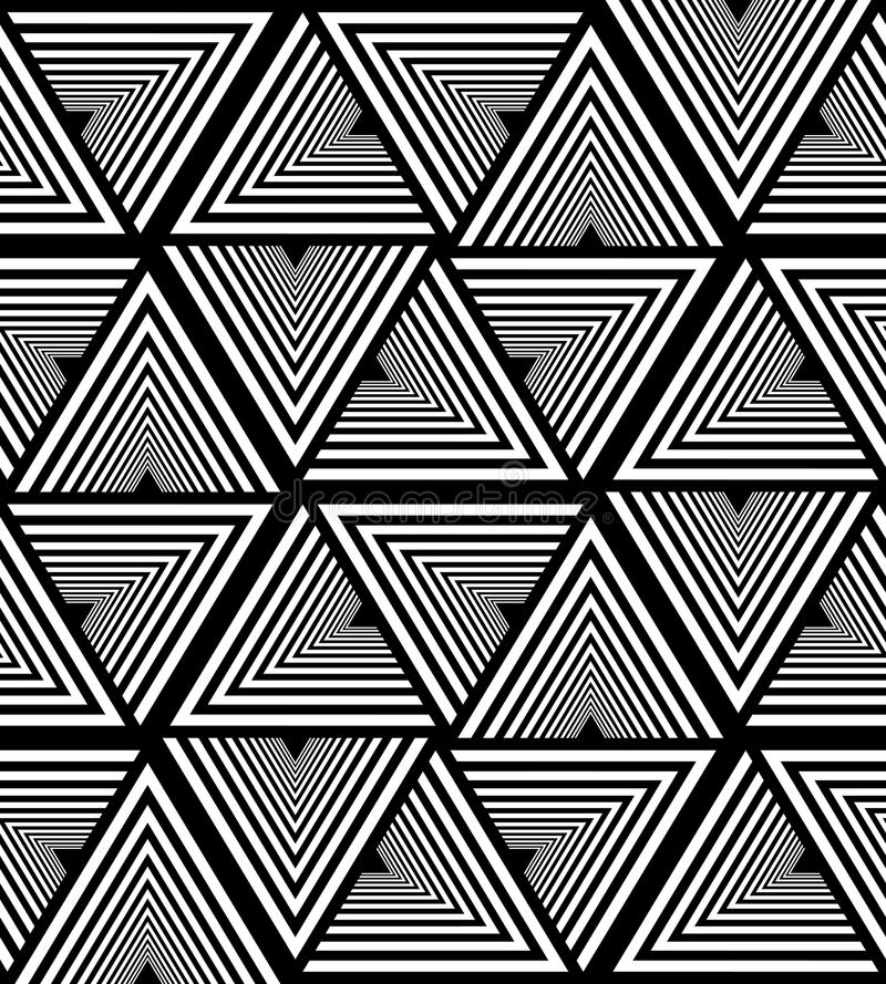 Seamless White and Black Striped Triangle Pattern. Polygonal Geometric Abstract Background. Suitable for textile, fabric. Packaging and web design royalty free illustration