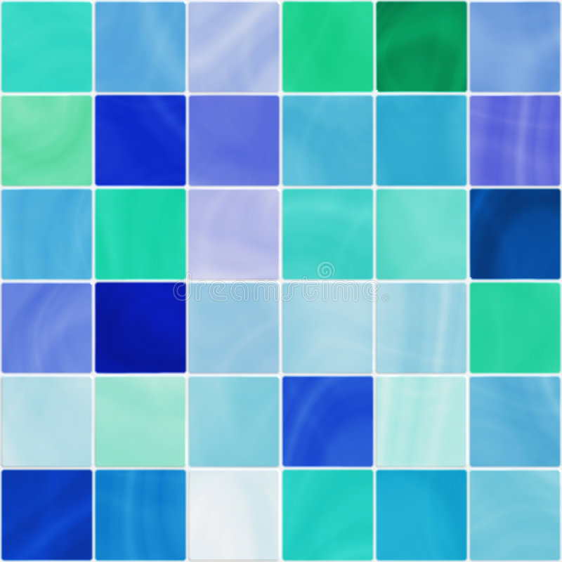 Seamless white and blue bathroom tiles. Ceramic bathroom or kitchen tiles in white, blue and green tones, seamlessly tillable vector illustration