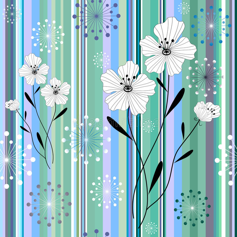 Seamless white-blue floral striped pattern vector illustration