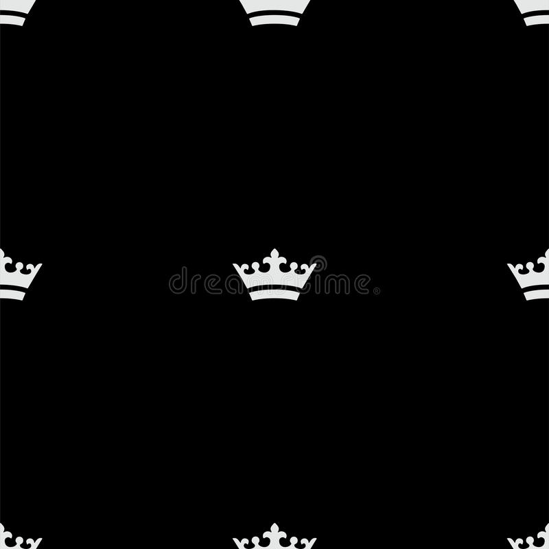 Seamless white crown pattern. Black background stock photography