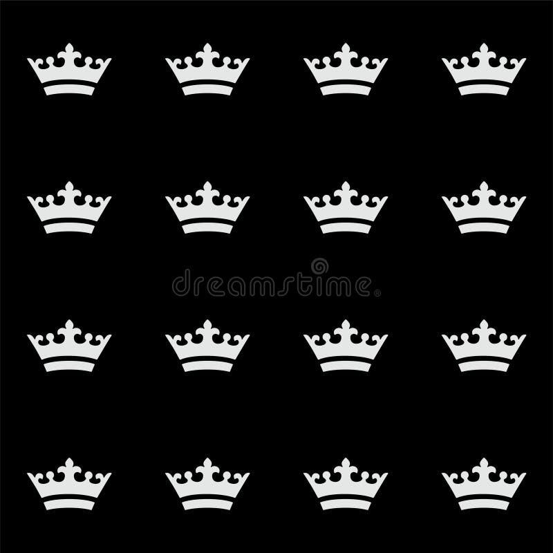 Seamless white crown pattern. Black background stock image
